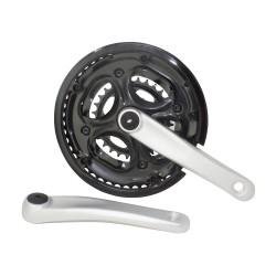 Alloy Chainwheel Set 48/38/28T Black/Silver